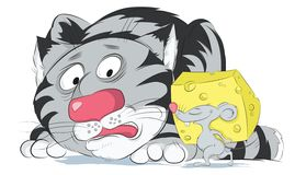 De grote doen schrikken kat bekijkt muiskleurig Royalty-vrije Illustratie