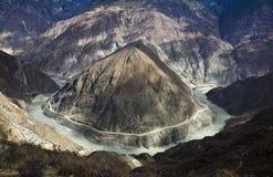 De grote draai van de rivier in ten westen van China Stock Afbeeldingen