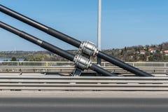 De grote en sterke de kabelverbindingen die van de staalveiligheid de concrete brugbouw houden en lossen trillingen en steunwind  stock fotografie