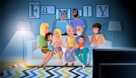 De grote Familie het Besteden Vector van de Avondtijd samen stock illustratie