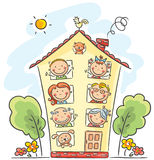 De grote familie is thuis stock illustratie