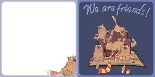 De grote familie van kattenprentbriefkaar Royalty-vrije Stock Foto