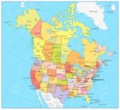 De grote gedetailleerde politieke kaart van de V.S. en van Canada Stock Afbeeldingen
