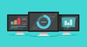 De grote gegevens analyseren op computers vectorillustratie, vlakke beeldverhaalmonitors met het onderzoek van de analyticsinform vector illustratie