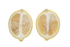 De grote gele citroen ligt op een blauwe plaat op een gele achtergrond Royalty-vrije Stock Foto