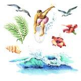 De grote hand getrokken die waterverf met jonge surfers, oceaangolf, palmtak, meeuwen en hibiscus wordt geplaatst bloeit Royalty-vrije Stock Afbeelding