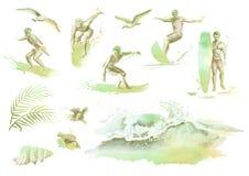 De grote hand getrokken die waterverf met jonge surfers, oceaangolf, palmtak, meeuwen en hibiscus wordt geplaatst bloeit Stock Fotografie