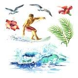 De grote hand getrokken die waterverf met jonge surfers, oceaangolf, palmtak, meeuwen en hibiscus wordt geplaatst bloeit Stock Afbeeldingen