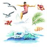 De grote hand getrokken die waterverf met jonge surfers, oceaangolf, palmtak, meeuwen en hibiscus wordt geplaatst bloeit Stock Foto's