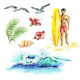 De grote hand getrokken die waterverf met jonge surfers, oceaangolf, palmtak, meeuwen en hibiscus wordt geplaatst bloeit royalty-vrije illustratie