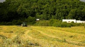 De grote het oogsten machine draait boven droog gras, vrachtwagen met hooimaker die aan de weide in landbouwgrond werken stock videobeelden