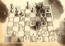 De Grote het Schaakspelen van de Wereld: Byrne - Fischer royalty-vrije illustratie