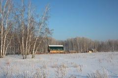 De grote houten hut van het dorpshuis bevindt zich in het bos onder de sneeuwbanken in de winter in het dorp stock fotografie