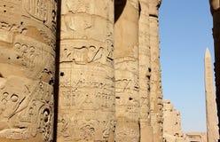 De grote Hypostyle Zaal van de Tempel van Karnak. Stock Fotografie