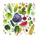 De grote inzameling van de klemkunst met vruchten en groenten stock illustratie