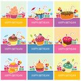De grote inzameling van verjaardagskaarten Stock Afbeelding