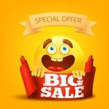 De grote kaart van het verkoopconcept met glimlachgezicht Stock Foto