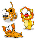 De grote katten van het beeldverhaal Stock Foto's
