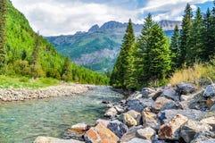 De grote Keien leiden tot Rocky Riverbank in Gletsjer Nationaal Park royalty-vrije stock afbeelding
