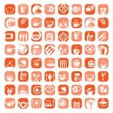 De grote geplaatste pictogrammen van de kleurenkeuken Stock Foto