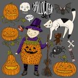 De grote kleurrijke reeks van Halloween met meisjeheks, kat, enge gezichtenpompoenen, hart, spin, suikergoed, beenderen, schedel, Royalty-vrije Stock Foto's