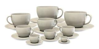 De grote koppen van ANS kleine cofee in groep Royalty-vrije Stock Foto's