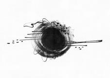 De grote korrelige abstracte illustratie met zwarte die inktcirkel, de hand met borstel wordt getrokken en de vloeistof inkten op vector illustratie