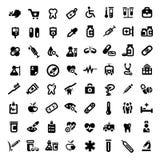 Grote medische geplaatste pictogrammen Stock Afbeeldingen
