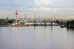 De grote mening van de zeehavenstad, de industrie landscaspe Royalty-vrije Stock Afbeelding