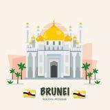 De Grote Moskee oriëntatiepunt van Brunei Geplaatste ASEAN - stock illustratie