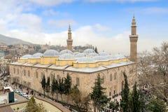 Is de Grote Moskee Turks Ulu Cami van slijmbeurs de grootste historische die moskee in Slijmbeurs, Turkije in 1399 wordt gebouwd Royalty-vrije Stock Fotografie