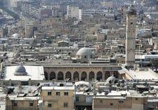 De Grote Moskee van Aleppo van de citadel Stock Foto