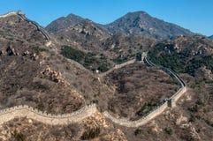 De grote Muur van China in Badaling Stock Afbeeldingen
