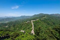 De Grote Muur van China bij Mutianyu-sectie in noordoosten van centraal Peking, China stock afbeelding