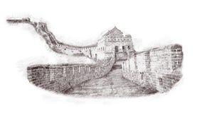 De Grote Muur van China in schetsstijl Illustratie, hand, geïsoleerde schets op wit wordt getrokken dat Waterverf Chinese histori vector illustratie