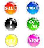 De grote nieuwe pictogrammen van verkoopkleuren Stock Afbeeldingen