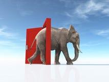 De grote olifant gaat geopende deur in stock foto's