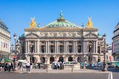 De Grote Opera van het operahuis; Opera Garnier bij nacht Parijs, Frankrijk Royalty-vrije Stock Foto's