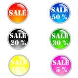 De grote pictogrammen van verkoopkleuren Stock Afbeeldingen