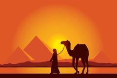 De Grote Piramides van Egypte met Kameelcaravan op zonsondergangachtergrond Royalty-vrije Stock Afbeelding