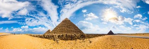 De grote piramides van Giza, Egypte stock afbeelding