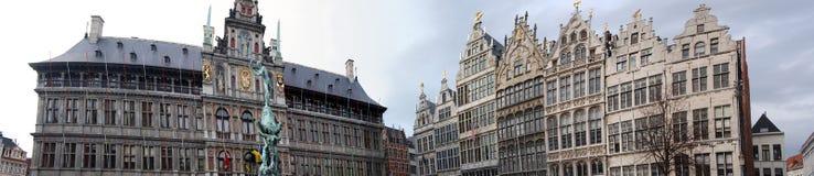 De grote plaats Antwerpen van het panorama Stock Foto