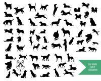 De grote reeks silhouetten van hondrassen Stock Fotografie