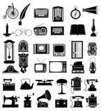 De grote reeks van veel heeft retro oude uitstekende zieke vector van de pictogrammenvoorraad bezwaar Stock Fotografie