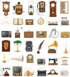 De grote reeks van veel heeft retro oude uitstekende zieke vector van de pictogrammenvoorraad bezwaar Royalty-vrije Stock Foto