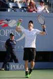 De grote Slagkampioen Andy Murray viert overwinning na vierde ronde gelijke bij US Open 2014 Royalty-vrije Stock Afbeelding