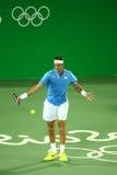 De grote Slagkampioen Juan Martin Del Porto van Argentinië in actie tijdens mensen ` s kiest eerste ronde gelijke van Rio uit 201 Stock Afbeeldingen