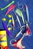 De grote spel haak van visserijlokmiddelen voor tonijnmarlijn Royalty-vrije Stock Foto's