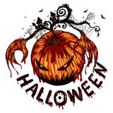 De grote spookpompoen is Rampaging in Halloween Royalty-vrije Stock Foto