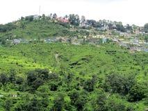De grote stad streek omhoog in Himalayagebergte, India neer Royalty-vrije Stock Foto